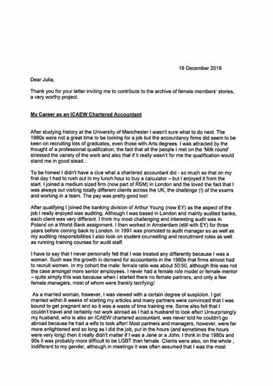 A scan of page 1 of Jane Berney's letter