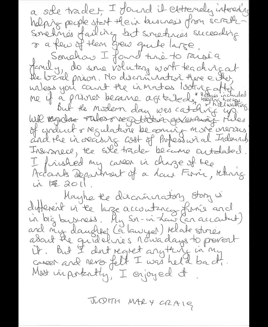 Judith Mary Craig letter part 3