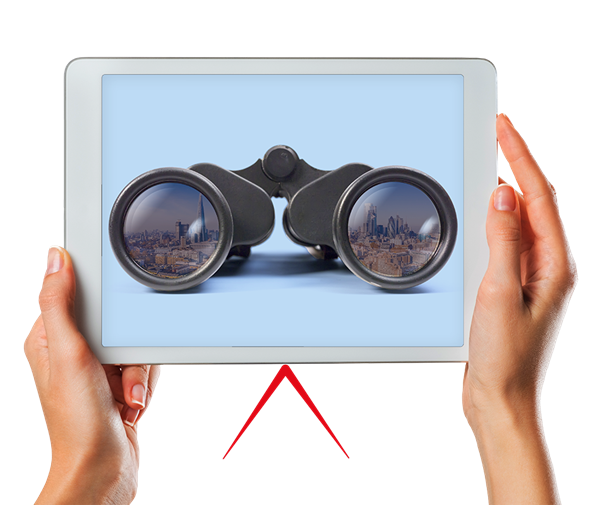 A pair of hands holding an ipad displaying a photo of binoculars
