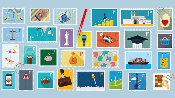 Stamps representing all of the ICAEW Communities