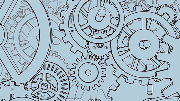 Mass of line-drawn cogs overlapping