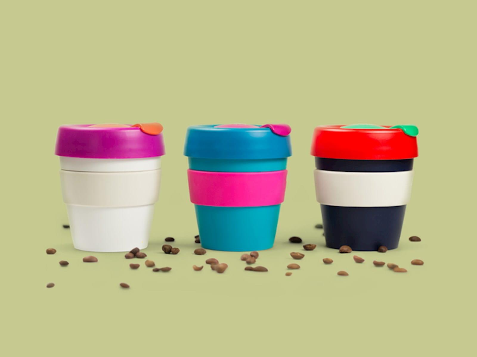 Three travel cups