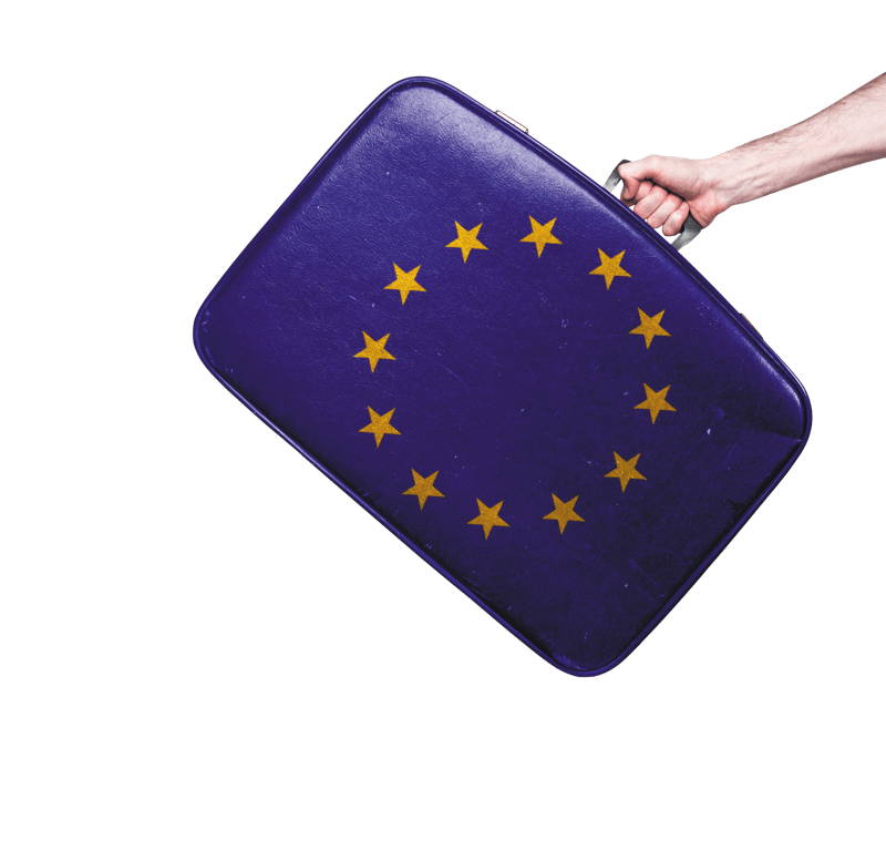Suitcase with the EU flag
