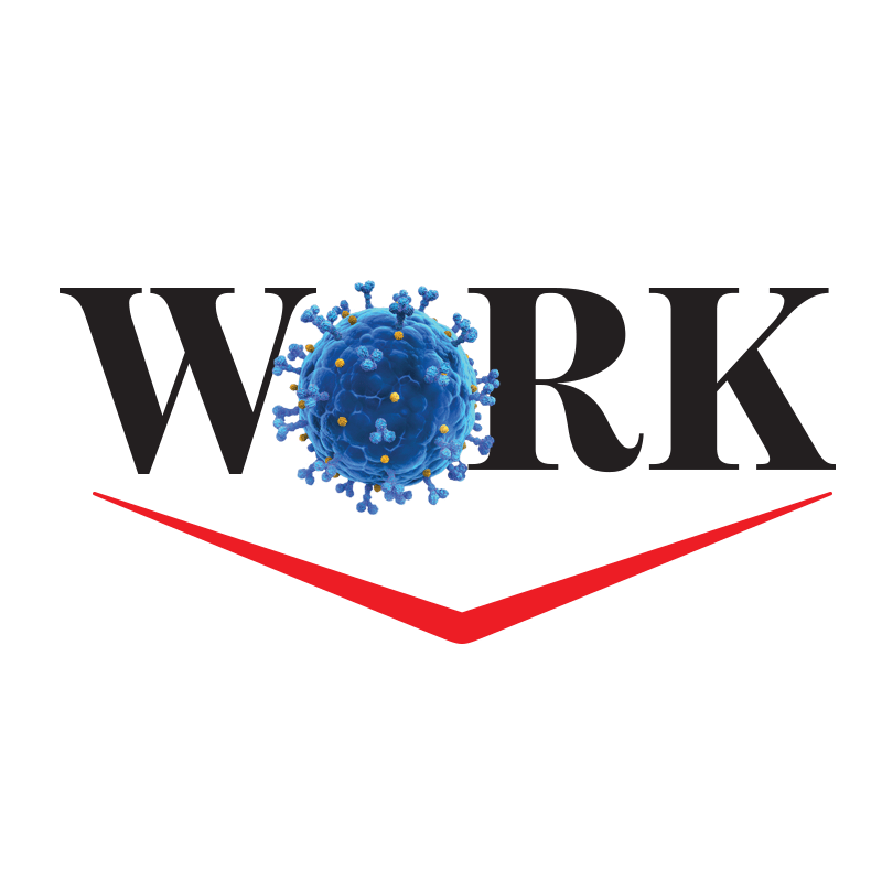 The word 'WORK' with the letter 'O' substituted for a coronavirus particle.