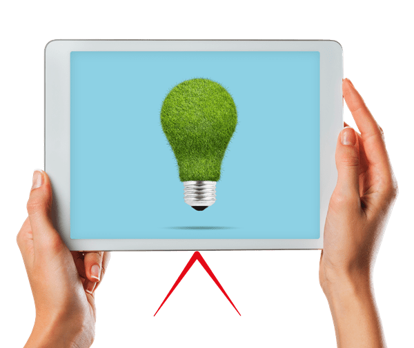 A pair of hands holding a tablet showing a lightbulb made of foliage.