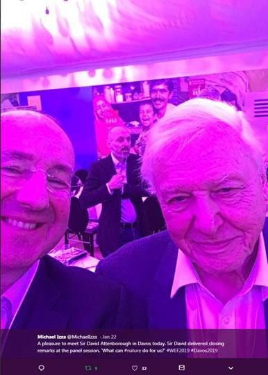 David Attenborough and Michael Izza at the World Economic Forum