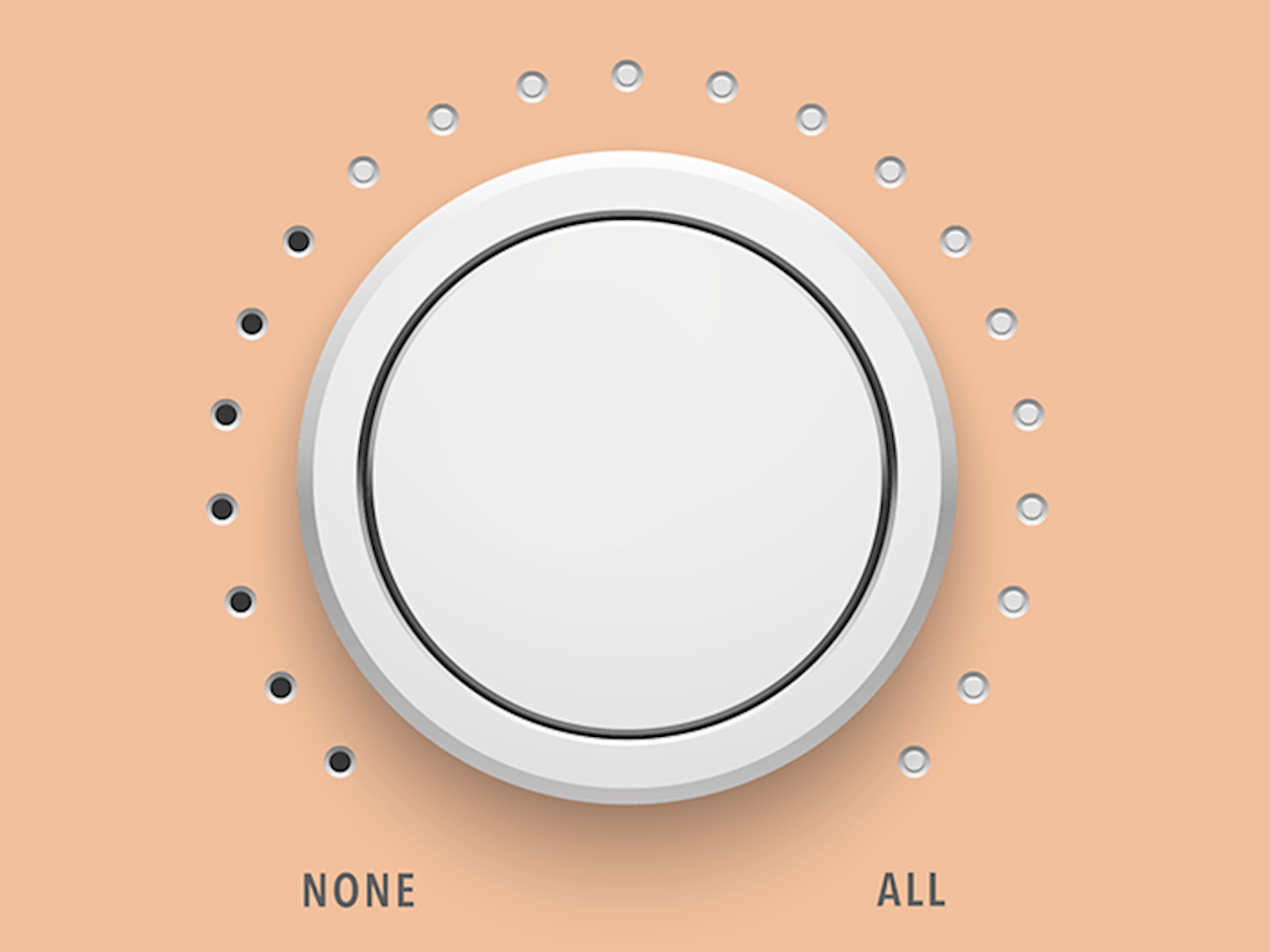 A dial going from 'NONE' to 'ALL'