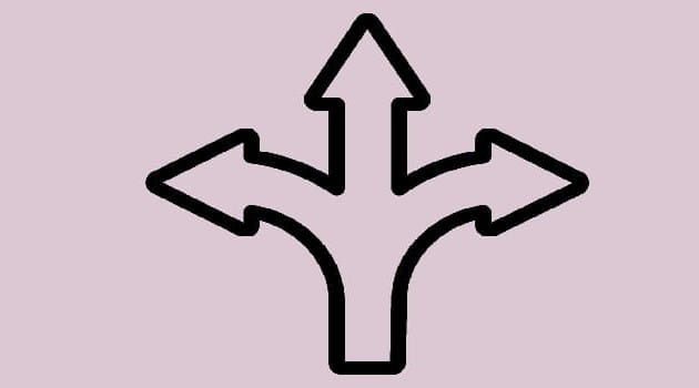 Three arrows in different directions