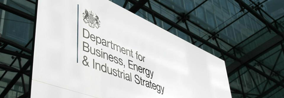A sign that reads 'Department for Business, Energy & Industrial Strategy'