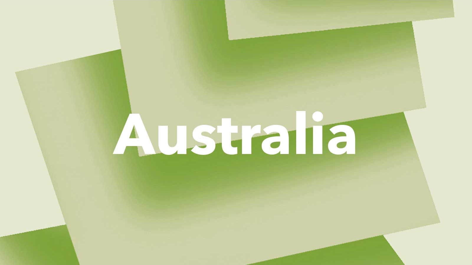 The word 'Australia' on a green background