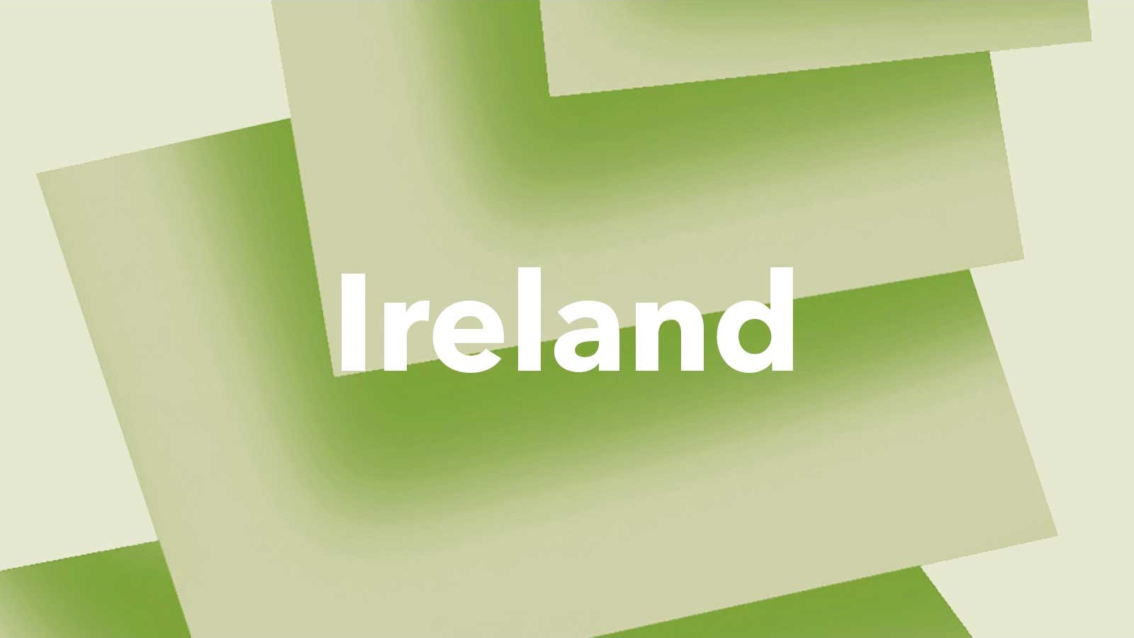 The word 'Ireland' on a green background