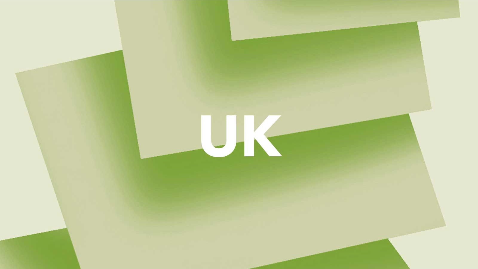 The letters 'UK' on a green background