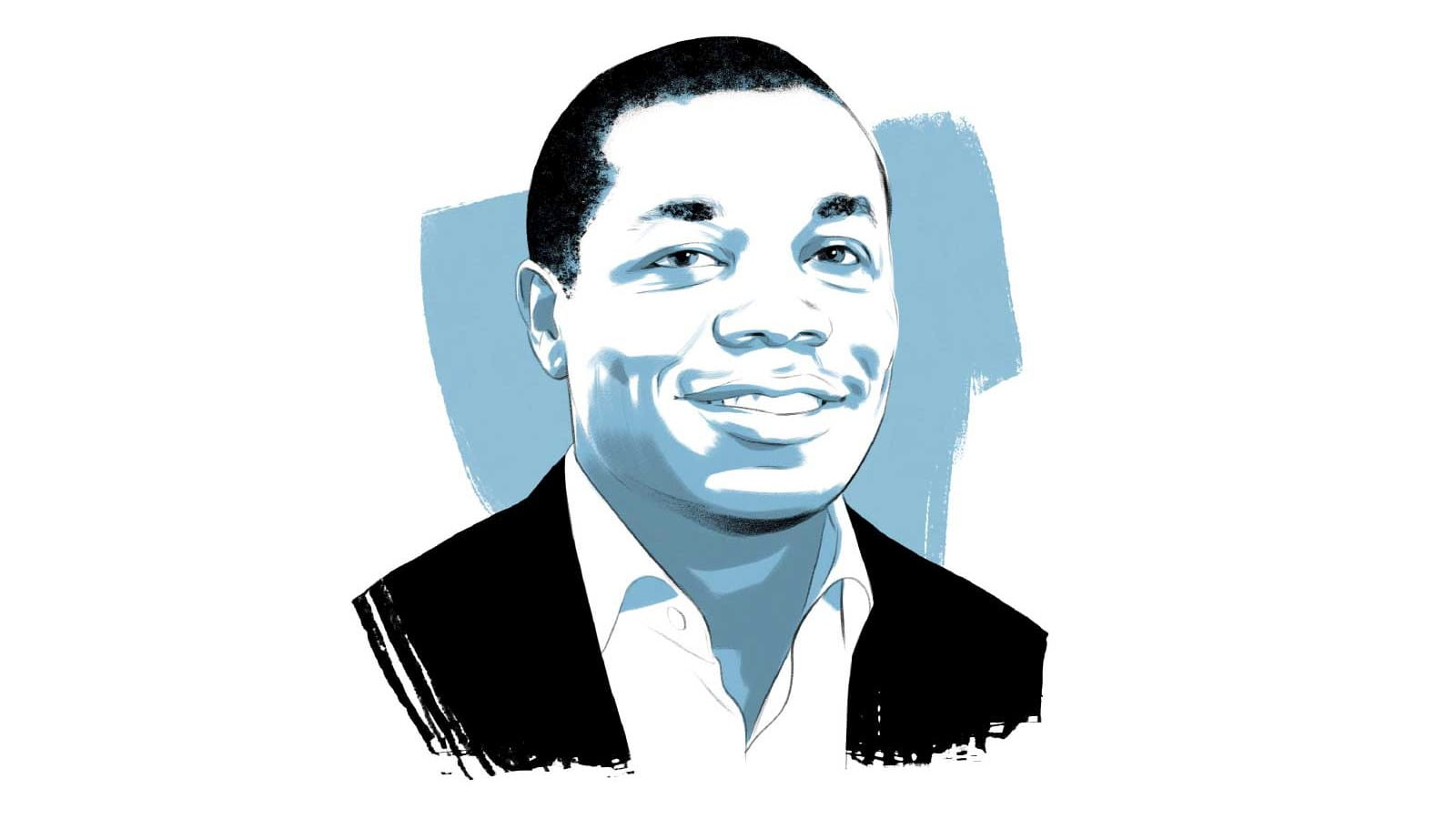 An illustrated portrait of Sam Achampong