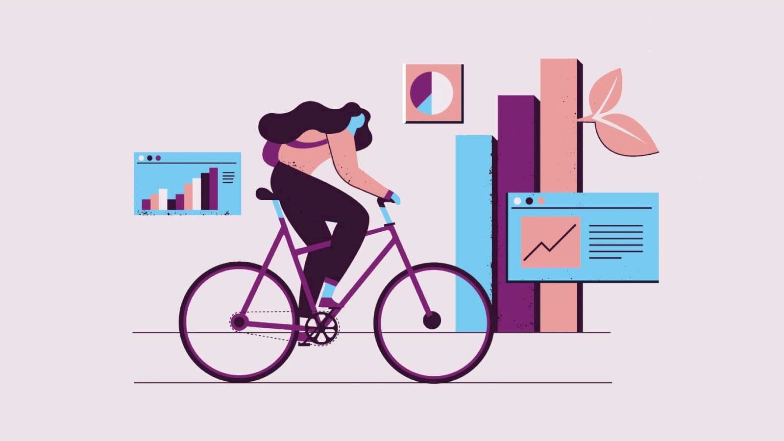 Illustration of a person on a bicycle with graphs in the background