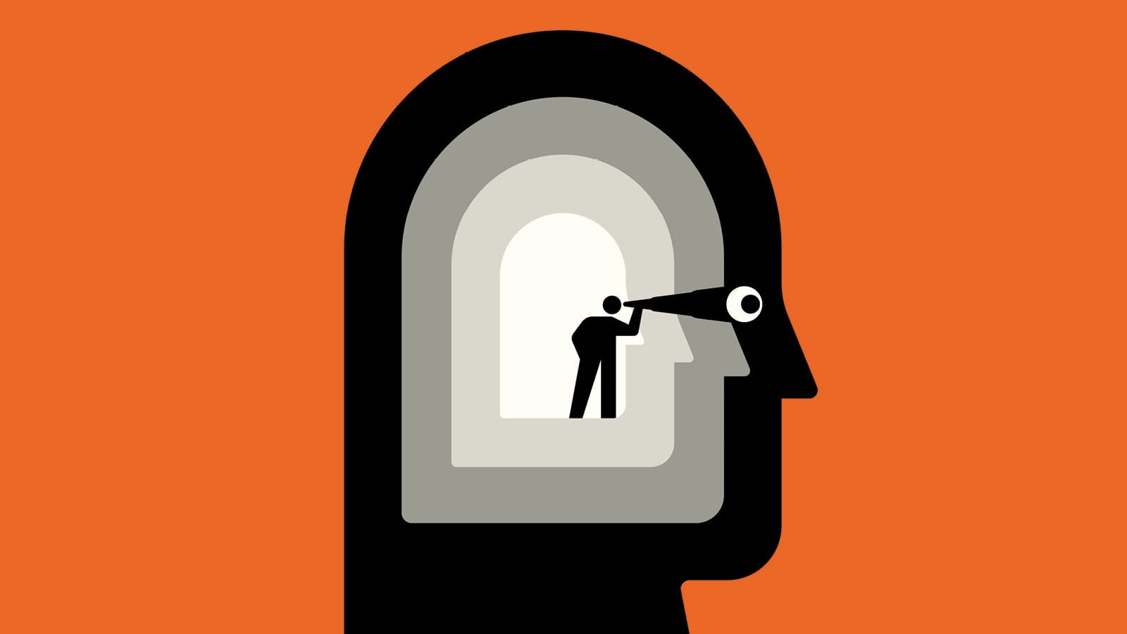 An illustration showing a person standing inside a head, staring through a telescope and out through the head's eye