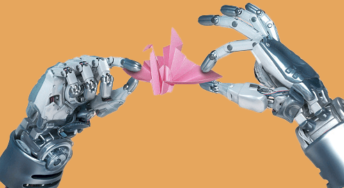 A pair of robotic hands inspecting an origami swan