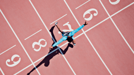 Person on a running track