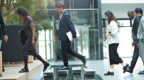 Professionals walking