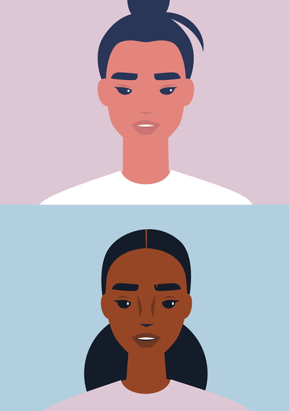 Illustration of two people's faces, one above the other