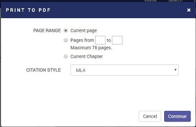 Ebook Central printing to pdf
