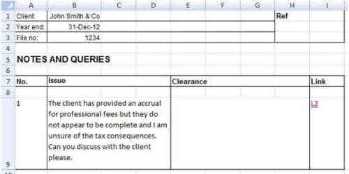 excel notes template