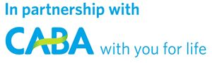 The CABA logo, with the text 'In partnership with' above it, and 'with you for life' after it.