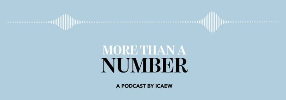 A waveform and the words 'More than a Number - a podcast by ICAEW'