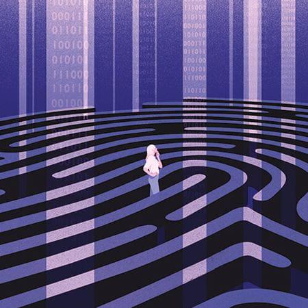 A person walking through a maze.