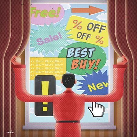 A person opening curtains to reveal lots of sales-related word bubbles including 'Best buy!', '% off' and 'New'.