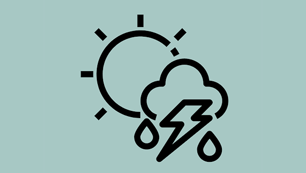 An icon depicting a sun behind a cloud behind a lightning bolt, with rain drops coming from the cloud.
