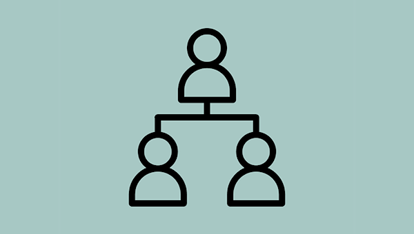 An icon depicting an organisational structure with 2 people reporting to 1 person