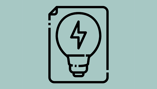 An icon depicting a document with a lightbulb on it, which itself has a lightning bolt in it.