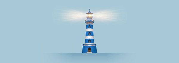 An illustration of a lighthouse with its light on