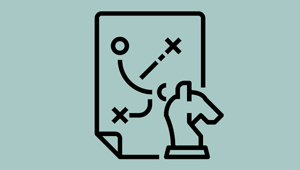 An icon depicting a document with sport-style diagrams of points and crosses and the directions they're going in, with a knight chess piece standing in front of the document.