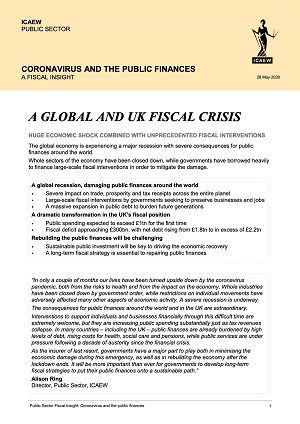 First page of the 'ICAEW Fiscal Insight Coronavirus and the Public Finances' report