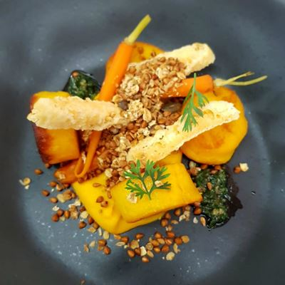A plate of carrot gnocchi