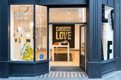 The 'Choose Love' shop front.