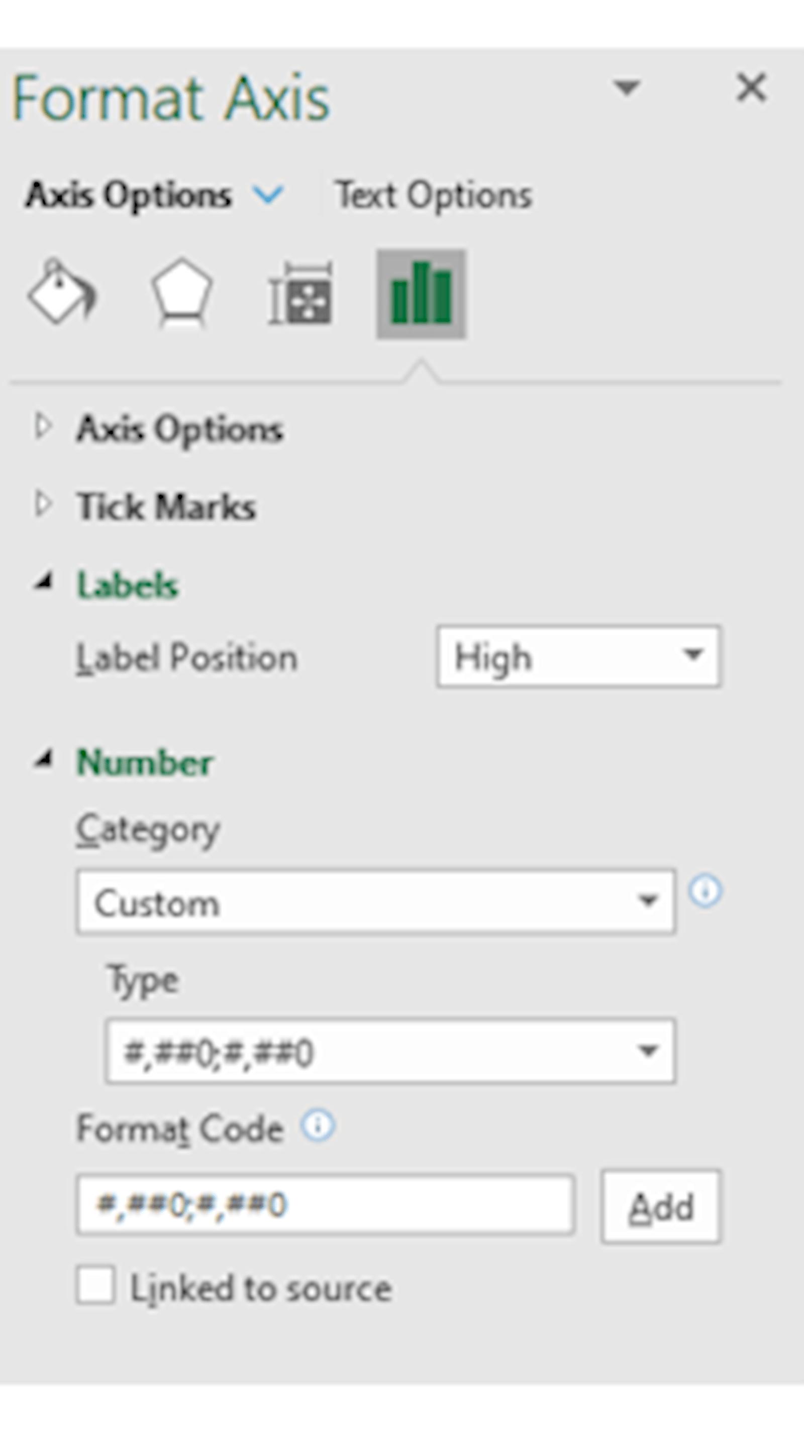 Image of Excel format axis menu