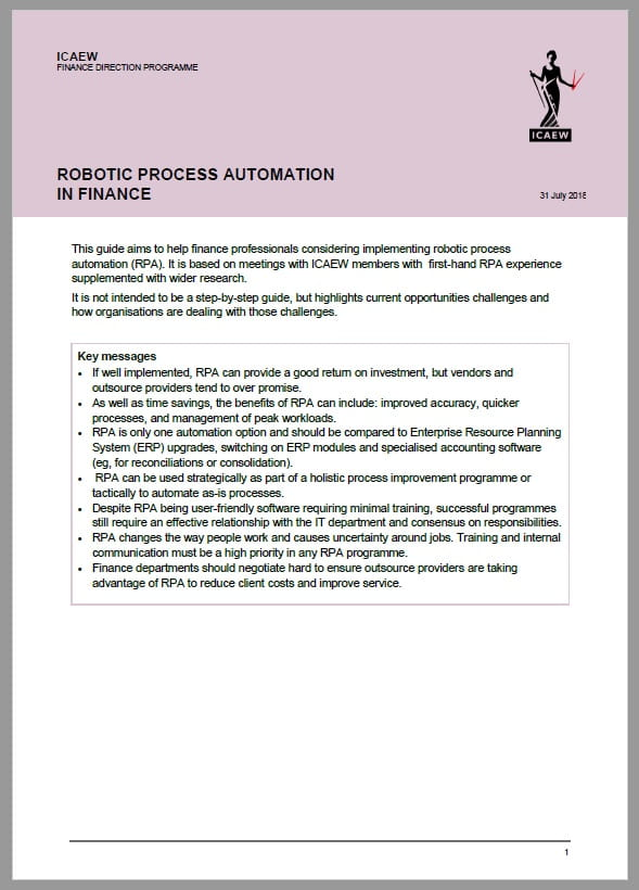 Cover of ICAEW's guide to robotic process automation in finance