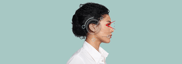 A woman's profile with geometrical graphics overlaid