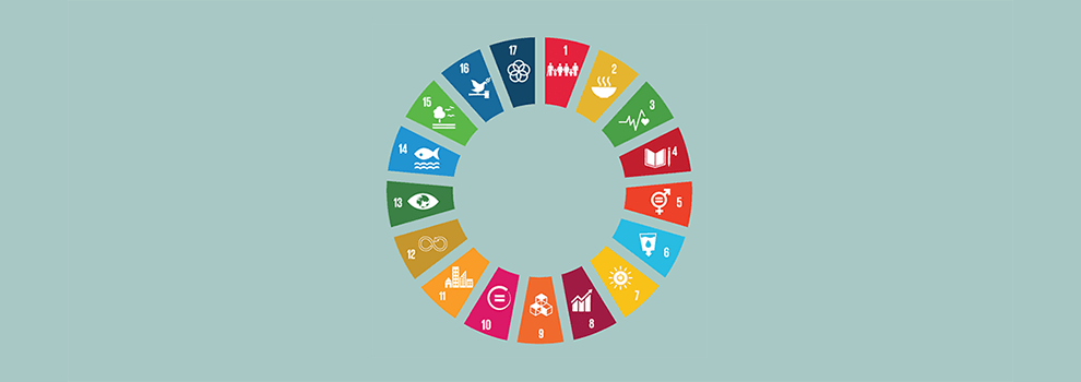 The UN's global goals displayed in a circle