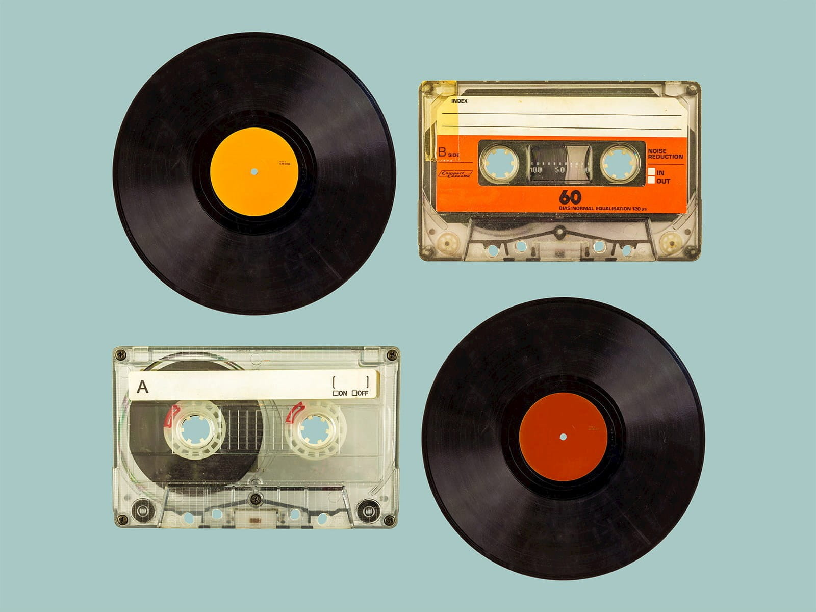 Vinyl LPs and cassette tapes