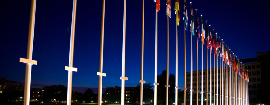 Flag poles at European parliament