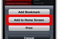 Adding a shortcut to your iPhone home screen tap by tap guide step 2 - Tap on 'Add to home screen'