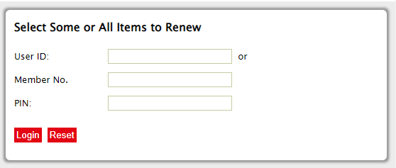 library book renewals login screen