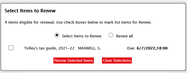 library book renewal selection screen