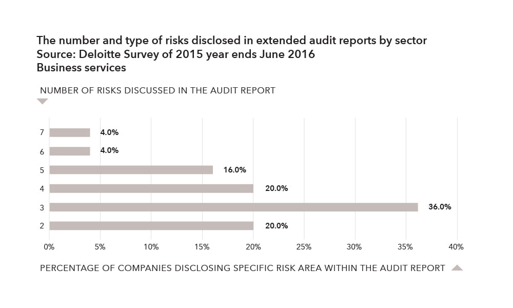The number and type of risks disclosed in extended audit reports by sector